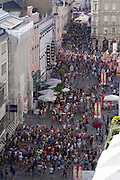 Linz, Austria. HÖHENRAUSCH.3<br /> Die Kunst der Türme (The Art of Towers)<br /> View over Pflasterspektakel 2013 from Kirchtürme der<br /> Ursulinenkirche (St. Ursula Church Towers).