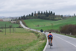 Lone leader, Nikki Harris sees the road pan out infront of her - 2016 Strade Bianche - Elite Women, a 121km road race from Siena to Piazza del Campo on March 5, 2016 in Tuscany, Italy.