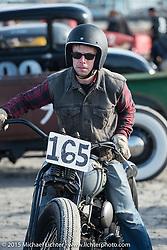 Ryan Mackey and his 1943 Harley-Davidson 45 ci racer at the Race of Gentlemen. Wildwood, NJ, USA. October 10, 2015.  Photography ©2015 Michael Lichter.
