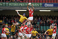 Sam Warburton of Wales stretches to win a lineout ball.  Invesco Perpetual series, autumn international, Wales v Australia at the Millennium Stadium in Cardiff on Sat 6th Nov 2010.  pic by Andrew Orchard, Andrew Orchard sports photography,