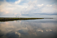 Waters off Isle de Jean Charles deep in the bayous of Terrebonne Parish in South Louisiana. The marsh land is disappearing at a fast clip due to coastal erosion.