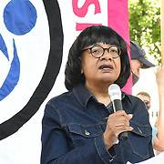 Speaker Diane Abbott Anti racism campaigners gather outside Downing Street to Take The Knee in support of the England football players who endured racial abuse after the Euro Final on 17th July 2021, London, UK.