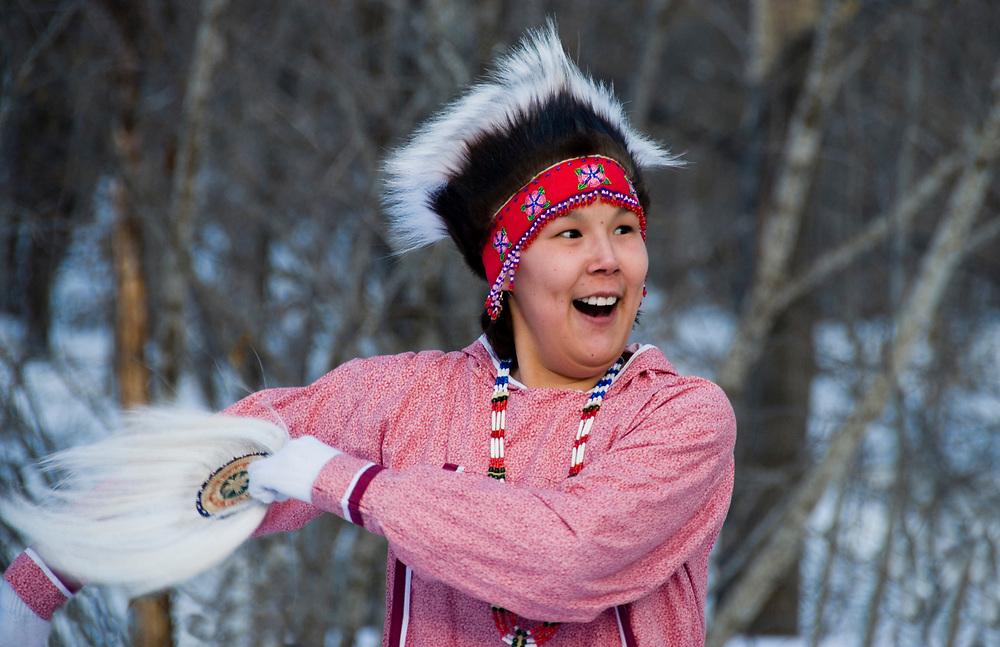 Native Eskimo girl entertains  at the Opening ceremonies for the 2007 U.S. Alpine Championships at Alyeska, Resort, Alaska.
