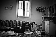 Migrants in an abandoned house.