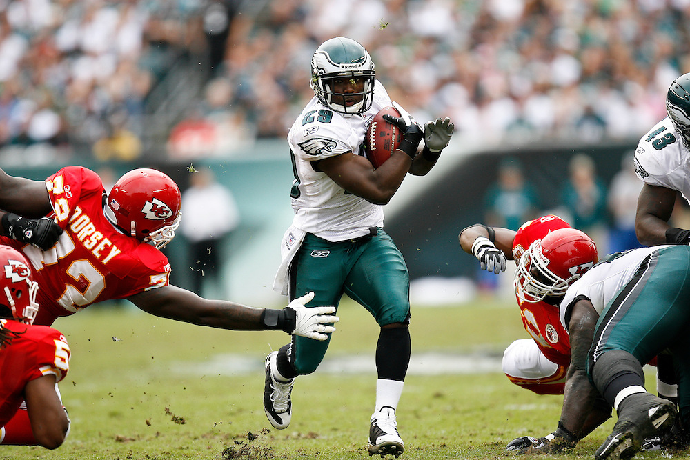 Philadelphia Eagles running back LeSean McCoy #25 carries the a ball during the NFL game between the Kansas City Chiefs and the Philadelphia Eagles on September 27th 2009. The Eagles won 34-14 at Lincoln Financial Field in Philadelphia, Pennsylvania. (Photo By Brian Garfinkel)