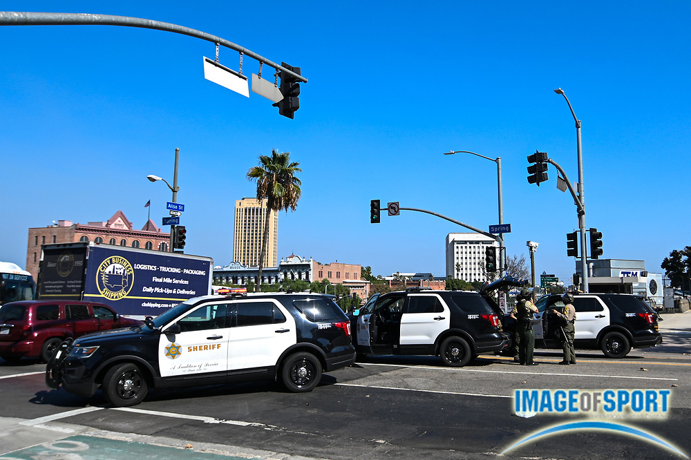 Los Angeles County Sheriff deputies shutdown the corners of Aliso St and Spring St outside of the Hall of Justice, Wednesday, Sept. 23, 2020, in Los Angeles. (Dylan Stewart/Image of Sport)