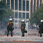 Riot police in Panepistimiou street during the the protests in Athens against the  unpopular austerity measures, June 29, 2011