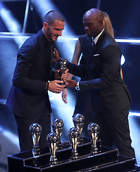 Leonardo Bonucci accepts his award for the FIFA Team of the Year during the Best FIFA Football Awards 2017 at the Palladium Theatre, London.