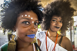 November 20, 2018 - Sao Paulo, Brazil - Two women with face paint during March Of The Black Consciousness, protest against racism, People take part at the 15th March of Consciencia Negra, on Avenida Paulista, in Sao Paulo. The purpose of the demonstration is to awaken the need for reflection on the racial issue in Brazil. (Credit Image: © Cris Faga/ZUMA Wire)