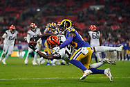 Cincinnati Bengals Wide receiver Damion Willis (15) diving catch in the endzone during the International Series match between Los Angeles Rams and Cincinnati Bengals at Wembley Stadium, London, England on 27 October 2019.