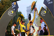 Podium, Geraint Thomas (GBR - Team Sky) Yellow Jersey, winner, Tom Dumoulin (NED - Team Sunweb), 2nd, Christopher Froome (GBR - Team Sky) 3rd during the 105th Tour de France 2018, Stage 21, Houilles - Paris Champs-Elysees (115 km) on July 29th, 2018 - Photo Kei Tsuji / BettiniPhoto / ProSportsImages / DPPI