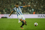 Tommy Smith of Huddersfield Town crosses the ball . Premier league match, West Ham Utd v Huddersfield Town at the London Stadium, Queen Elizabeth Olympic Park in London on Monday 11th September 2017.<br /> pic by Kieran Clarke, Andrew Orchard sports photography.