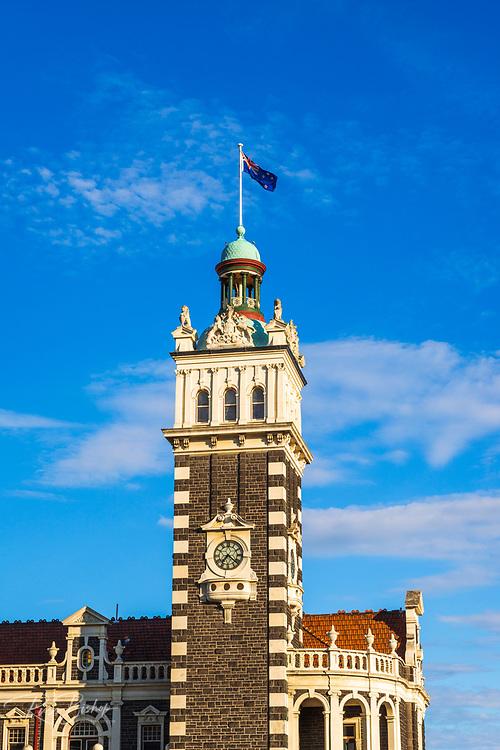 The clocktower at the Dunedin Railway Station, Dunedin, South Island, New Zealand