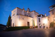 Night time illuminated view of the Church of Santa Maria de Alhambra, the Alhambra complex, Granada, Spain
