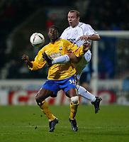 Photo. Aidan Ellis.<br />Bolton Wanderers v Southampton.<br />Carling Cup Quater Final.<br />16/12/2003.<br />Bolton's Simon Charlton and Southampton's Augustin Delgado