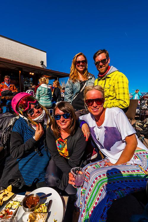 Apres ski slopeside at Venga Venga Cantina, Snowmass Village (Aspen), Colorado USA.