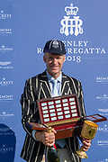 """Henley on Thames, United Kingdom, 8th July 2018, Sunday,  """"Henley Royal Regatta"""",  Diamond Challenge Sculls, Winner Mahe DRYSDALE NZL M1X, with Trophy, and his 6th Pineapple Goblet, View, Henley Reach, River Thames, Thames Valley, England, UK."""