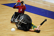 GB Cup 2011, Wheelchair rugby,  also known as 'murderball' event at Sport Wales national centre in Cardiff on Thursday 8th Sept 2011. Pic By  Andrew Orchard, Andrew Orchard sports photography,