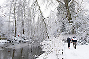 Snow scene by the lake in Kings Heath Park on 24th January 2021 in Birmingham, United Kingdom. Deep snow arrived in the Midlands giving some light relief and fun during the current lockdown for people who simply enjoyed the weather.