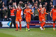 Goal 1-0 Luton Town forward James Collins scores a goal and celebrates during the EFL Sky Bet League 1 match between Luton Town and Wycombe Wanderers at Kenilworth Road, Luton, England on 9 February 2019.