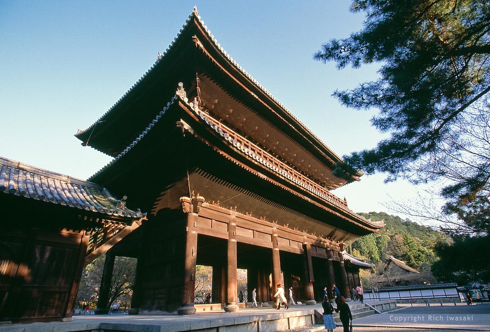 Low angle view of Sanmon gate at entrance to Nanzen-ji (temple), Kyoto, Japan.