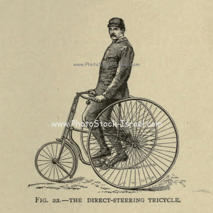 Direct steering tricycle Cycling by The right Hon. Earl of Albemarle, William Coutts Keppel, (1832-1894) and George Lacy Hillier (1856-1941); Joseph Pennell (1857-1926) Published by London and Bombay : Longmans, Green and co. in 1896. The Badminton Library