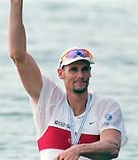 St Catherines, CANADA,  Men's Single Sculls,  Bronze medalist CAN M1X Derek PORTER,   1999 World Rowing Championships - Martindale Pond, Ontario. 08.1999..[Mandatory Credit; Peter Spurrier/Intersport-images]  .. 1999 FISA. World Rowing Championships, St Catherines, CANADA