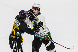 OREHEK Janez of HK SZ Olimpija and GROSSGASTEIGER Gregor of HC Pustertal during Ice Hockey match between HK SZ Olimpija and HC Pustertal Wolfe in 6th Final game of Alps Hockey League 2018/19, on April 19th, 2019, in Hala Tivoli, Ljubljana, Slovenia. Photo by Grega Valancic