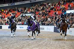 LANGEHANENBERG Helen (GER), Damsey FRH, WERTH Isabell (GER), Weihegold OLD, GRAVES Laura (USA), Verdades<br /> Göteborg - Gothenburg Horse Show 2019 <br /> FEI Dressage World Cup™ Final II<br /> Grand Prix Freestyle/Kür - Prix giving ceremony/Siegerehrung<br /> Longines FEI Jumping World Cup™ Final and FEI Dressage World Cup™ Final<br /> 06. April 2019<br /> © www.sportfotos-lafrentz.de/Stefan Lafrentz