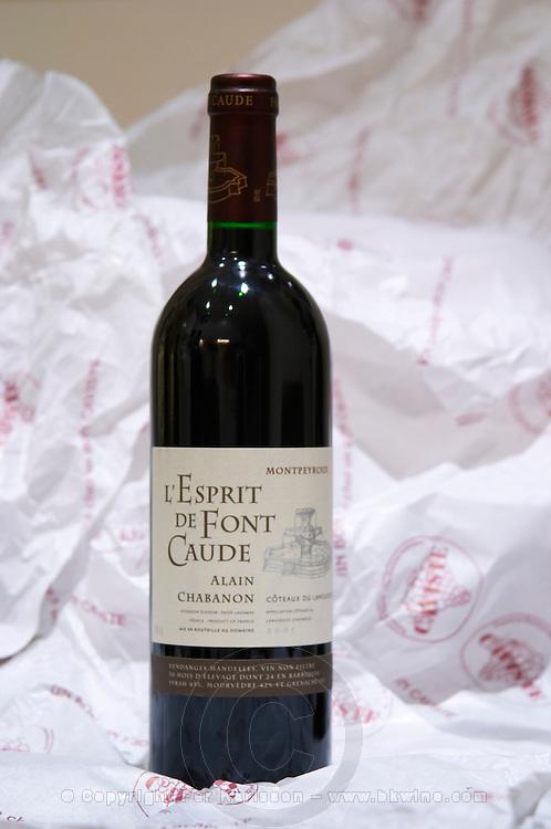 L'Esprit de Font Caude Alain Chabanon. Domaine Alain Chabanon, previously Font Caude, in the Lagamas village. Montpeyroux. Languedoc. France. Europe. Bottle.