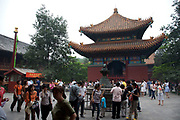 "The Yonghe Temple, also known as the ""Palace of Peace and Harmony Lama Temple"", the ""Yonghe Lamasery"", or - popularly - the ""Lama Temple"" is a temple and monastery of the Geluk School of Tibetan Buddhism located in the northeastern part of Beijing, China. It is one of the largest and most important Tibetan Buddhist monasteries in the world. The building and the artworks of the temple is a combination of Han Chinese and Tibetan styles."