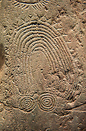 """Close up of prehistoric  petroglyphs, rock carvings, of a geometric design carved by the the prehistoric Camuni people in the Copper Age around the 3rd milleneum BC, Stele """"Bagnolo 2"""" found in 1972 from Malegno near Bangnolo Ceresolo. Museo Nazionale della Preistoria della Valle Camonica ( National Museum of Prehistory in Valle Cominca ), Lombardy, Italy. Grey Art Background<br /> <br /> If you prefer you can also buy from our ALAMY PHOTO LIBRARY  Collection visit : https://www.alamy.com/portfolio/paul-williams-funkystock/valcamonica-menhir-museum.html<br /> Visit our PREHISTORIC PLACES PHOTO COLLECTIONS for more  photos to download or buy as prints https://funkystock.photoshelter.com/gallery-collection/Prehistoric-Neolithic-Sites-Art-Artefacts-Pictures-Photos/C0000tfxw63zrUT4"""