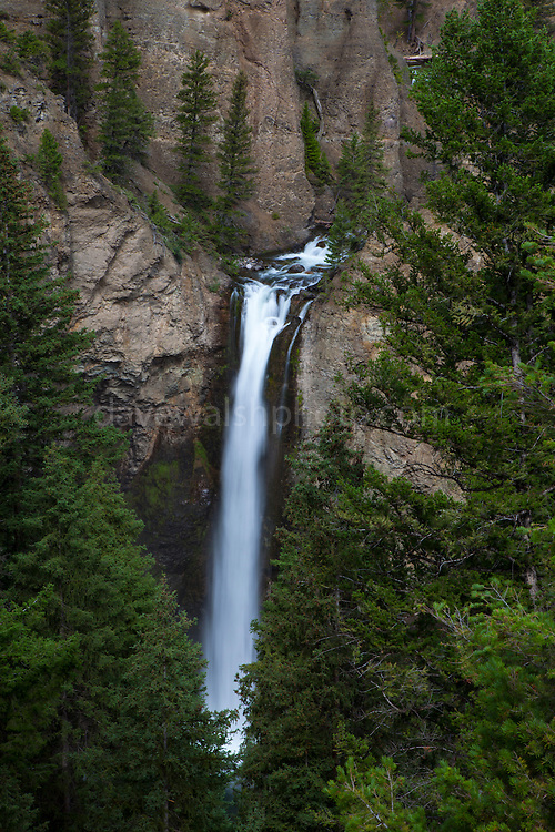 Tower Fall waterfall, in Yellowstone National Park, Wyoming. The reason for the colours of the rhyolite rocks is that they are oxidising, or rusting due to their iron content.
