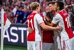 14-08-2018 NED: Champions League AFC Ajax - Standard de Liege, Amsterdam<br /> Third Qualifying Round,  3-0 victory Ajax during the UEFA Champions League match between Ajax v Standard Luik at the Johan Cruijff Arena / Frenkie de Jong #21 of Ajax, Nicolas Tagliafico #31 of Ajax, Klaas Jan Huntelaar #9 of Ajax, Hakim Ziyech #10 of Ajax