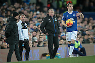 Steve McClaren (Newcastle United) watches on as Everton are about to take a throw-in during the Barclays Premier League match between Everton and Newcastle United at Goodison Park, Liverpool, England on 3 February 2016. Photo by Mark P Doherty.