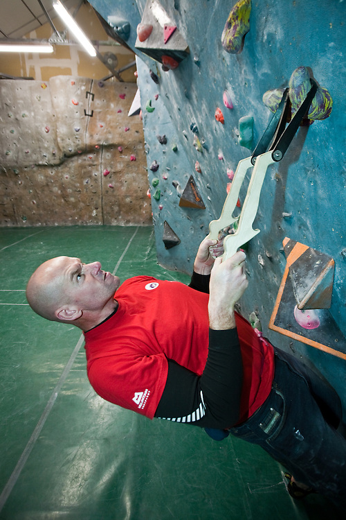 Ed Chard using Schmoolz training tools at The Edge climbing centre in Sheffield