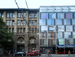 contrasting old and new renovated buildings in Mitte Berlin Germany