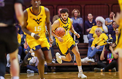Mar 20, 2019; Morgantown, WV, USA; West Virginia Mountaineers guard Jermaine Haley (10) dribbles the ball up the floor during the second half against the Grand Canyon Antelopes at WVU Coliseum. Mandatory Credit: Ben Queen