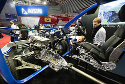 Aisin company displaying their latest car technology at Paris Motor Show 2016