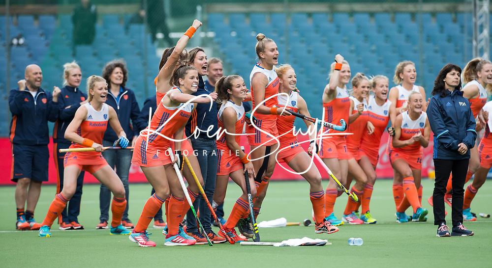 BRUSSEL - Vreugde bij Oranje na  de halve finale ronde Hockey World League (dames) Nederland-Nieuw Zeeland (1-1). . Nederland wint de shoot-outs en plaatst zich voor de finale.    COPYRIGHT KOEN SUYK