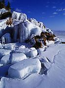 Winter view of Lake Superior Shoreline at Agawa Rocks, Lake Superior Provincial Park, Ontario, Canada.