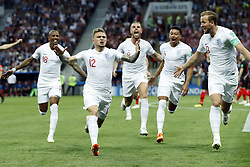 (l-r) Ashley Young of England, Kieran Trippier of England, Jordan Henderson of England, Jesse Lingard of England, Harry Kane of England during the 2018 FIFA World Cup Russia Semi Final match between Croatia and England at the Luzhniki Stadium on July 01, 2018 in Moscow, Russia