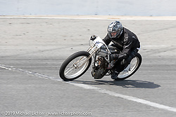 Dan Toce riding his 61 ci board track style motorcycle racer Sons of Speed Vintage Motorcycle Races at New Smyrina Speedway. New Smyrna Beach, USA. Saturday, March 9, 2019. Photography ©2019 Michael Lichter.