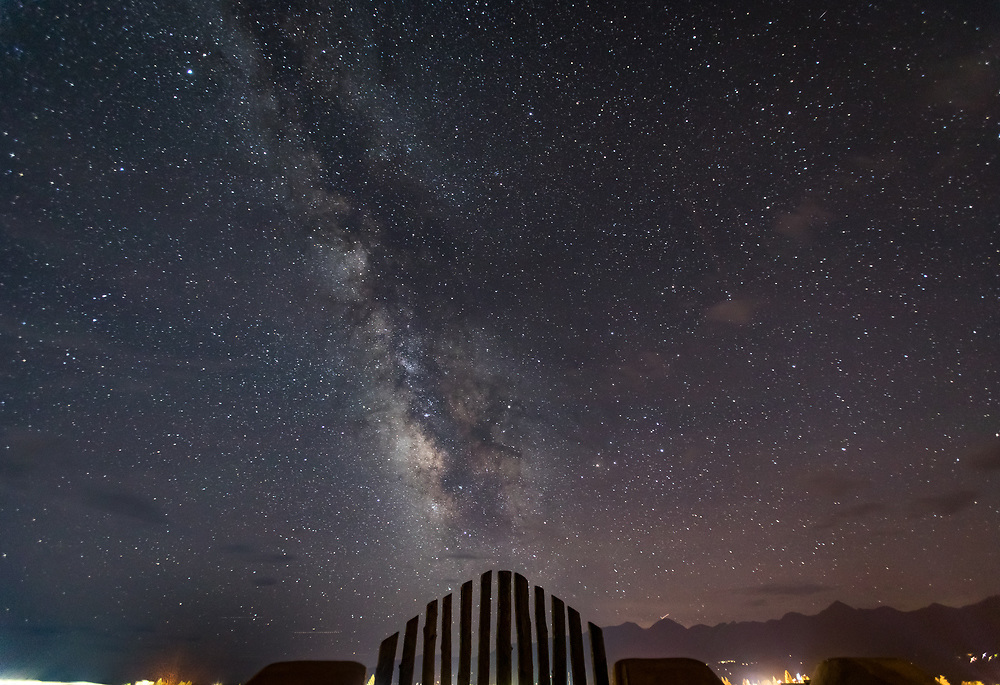The Milky Way glows in a dark sky over Westcliffe on an August night.