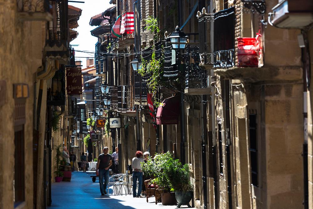 People in Basque town of Laguardia in Rioja-Alavesa area of Spain
