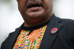 """A badge worn by Labour party activist Marc Wadsworth as he speaks to the media in Westminster, London, after he was expelled from the party following a hearing by Labour's disciplinary body which found his behaviour had been """"grossly detrimental to the party""""."""