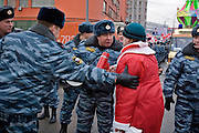 Moscow, Russia, 17/12/2005.&#xA;Russian riot police seize a demonstrator dressed as Santa Claus who failed to follow instructions.&#xA;Approximately 70,000 members of the pro Kremlin youth organisation Nashi [Ours],  demonstrated to wish World War Two veterans a happy New Year. Most of the demonstrators were dress as Dyed Moroz, the Russian Santa Claus, or his partner Snegurichka, the Snow Maiden.<br />