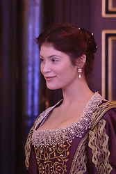 """© Licensed to London News Pictures. 14 January 2014. London, England. Pictured: GEMMA ARTERTON as The Duchess. Actress Gemma Arterton stars as the Duchess in the play """"The Duchess of Malfi"""" by John Webster. This is the first production to take place at the Sam Wanamaker Playhouse at the Globe Theatre. The performance is only lit by candles. Directed by Dominic Dromgoole. Photo credit: Bettina Strenske/LNP"""