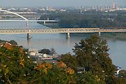 Europe, Slovakia, capitol city - Bratislava.Bridges over the Danube..