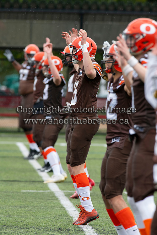 CHILLIWACK, BC - SEPTEMBER 11: Okanagan Sun players warm up on the field for warm up against the Westshore Rebels at Exhibition Stadium in Chilliwack, BC, Canada. (Photo by Marissa Baecker/Shoot the Breeze)